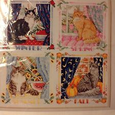 Cross Stitch Four Seasons Cats Sudberry Kit w/ Aida Cloth Floss & Chart OP