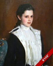 YOUNG GIRL WITH DARK HAIR IN BLACK & WHITE OIL PAINTING ART PRINT ON REAL CANVAS