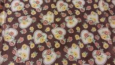 Vintage Brown Feedsack PIECE Hearts and Flowers measures 27 by 36 inches