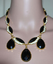 NEW W TAGS Resin Marquise & Pave Crystal Amrita Singh Black Necklace Orig. $150