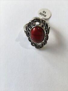 Tibetan Silver Plated Stone Ring Bohemian Jewellery Boho Hippy Ladies Size T 1/2