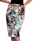 jupe Womens dames noir moulante motif floral neuf crayon mi-longue taille 8 10