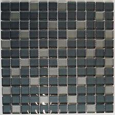 Glasmosaik Glasfliese silber grau 8mm dick Klarglas, 29,8x 29,8x0,8cm; AKTION