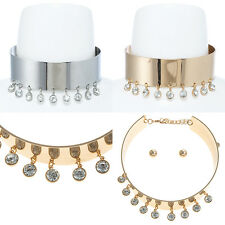 Bling Crystal Wide Full Metal Sleek Mirror Neck Choker Cuff Collar Necklace Set