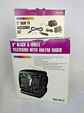 """5"""" Black and White Television with AM/FM Radio with Accessory Kit Included-NIB"""