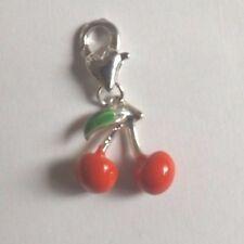 charms argentée cerises rouges 16x15 mm