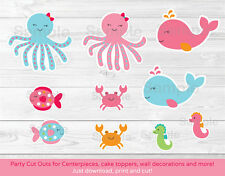 Pink Under The Sea Whale Octopus Party Cutouts Decorations Printable