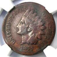 1877 Indian Cent 1C Coin - NGC Fine  Details - Rare Key Date - Certified Penny!