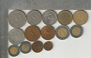 Mexico Qty 14 Coin Lot Mixed Date 1943 -1998 varied Denomination Mexican coinage
