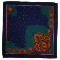 CHRISTIAN DIOR PAISLEY BLUE LARGE HAND ROLLED Silk Scarf 31/30 in #A7