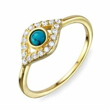 EVIL EYE RING W/ ACCENTS  /SZ 5 - 9/ 14K YELLOW GOLD OVER 925 STERLING SILVER