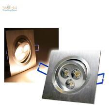 LED-Einbaustrahler ECKIG warmweiß 3x2W 92x92mm ALUminium 230V Spot Einbauleuchte