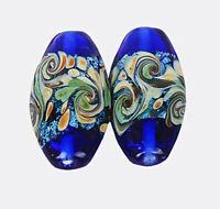 10pcs handmade Lampwork glass blue wave foil beads 15*28mm