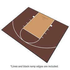 30ft x 25ft Outdoor Basketball Half Court Kit-Lines and Edges Includ-Brown/Beige