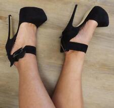 ZU ANKLE CUFF BLACK SUEDE shoes 6.5 / 7 SEXY platform party SPIKE stripper HEELS