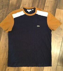 Youth/Boys Lacoste Regular Fit Short Sleeve Shirt.Navy White And Gold/Lrg..12-14
