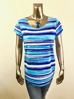 CHICO'S *NEW SIZE 2. (L) BLUE STRIPE SHORT-SLV TOP $63