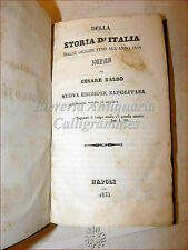CESARE BALBO, STORIA D'ITALIA dalle origini al 1814 Napoli 1853