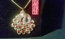 BETSEY JOHNSON CRYSTAL PEACOCK PENDANT CHARM NECKLACE-NWT