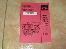 Ersatzteilliste Hatz Diesel Motor 1D20 1D30 1D35 1D40 1D60 1D80 spare parts list