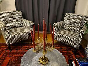 2 Sessel in Berlin Hahnentritt  Muster Stoff Design zeitlos schlicht Kaminsessel