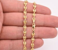 "7"" Puffed Mariner Anchor Link Bracelet Real Solid 14K Yellow Gold"