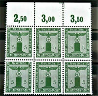 WW2 GENUINE HITLER 3rd REICH ERA GERMANY BLOCK OF 6 OFFICIAL STAMPS MNH + MARG