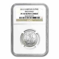 New 2012 GB Silver Britannia 1/2oz NGC PF70 Ultra Cameo Proof Graded Slab Coin