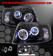 03-06 FORD EXPEDITION HALO PROJECTOR HEADLIGHTS LAMP BLACK 04 05 TWIN ANGEL EYES