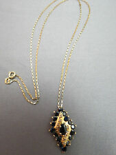 "14k Yellow Gold Sapphire Diamond Pendant Necklace 4.17g 26mm Turkey Chain 26"""