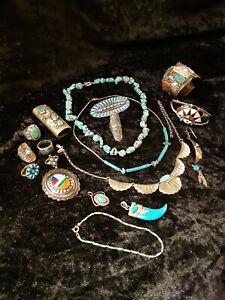 Konvolut Indianerschmuck, Collier, Armreif, Uhrspange, Ring, Feuerzeug, Sterling