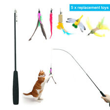 5pcs Kitten Cat Teaser Interactive Toy Dangler Rod Wand Bird Feather Funny Toys