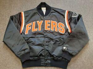 VTG 80s 90s Starter Philadelphia Flyers Nylon Satin Bomber Jacket Black Large L