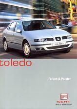 Seat Toledo Farben Prospekt 2001 7/01 Autoprospekt brochure paintwork upholstery