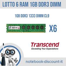 LOTTO 6 RAM DA 1GB PC3 1333 Transcend Memorie DDR3 per Desktop  STOCK DIMM