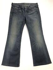 7 For All Mankind Dojo Womens Sz 31 (33x30) Blue Stretch Denim Flare Jeans