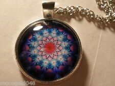 Photo Cabochon Mandalla Glass Tibet Silver Chain Pendant Necklace