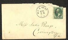 USA SCOTT #158 STAMP MACON & WESTERN RAILROAD MA. & WEST RR CANCEL COVER 1870s