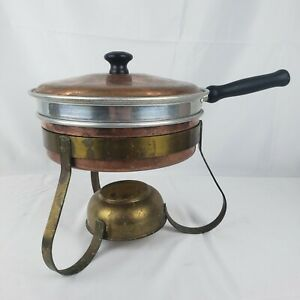 Vintage Copper & Brass Chafing Dish Warming Pan With Stand & Wooden Handle