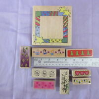 Wood Back Rubber Stamps Lot- 9 PC- Frames & Borders, Princesses, Mice & Cheese