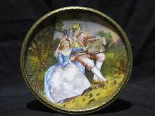 french art deco nouveau tazza enamel romatic scene ormolu hand paint by gamet