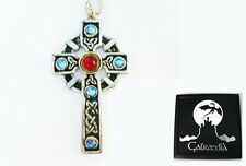 NEW CRUX CROSS Large Celtic PENDANT NECKLACE Swarovski Crystals by Galraedia