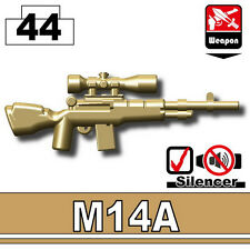 Dark Tan M14 (W58) sniper rifle compatible with toy brick minifigures