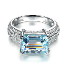 4.85ct Solid 14K White Gold Natural Blue Swiss Topaz Diamond Engagement Ring