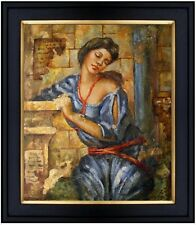 Framed Wall Fresco of a Lady, Hand Painted Oil Painting 20x24in