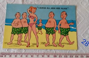 Vintage Aussie Beach Humour Post Card C28  I Guess all men are alike -