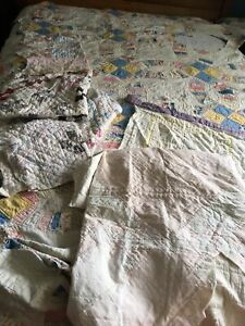 Vintage Handmade Patchwork Cutter Quilt Lot~Partial~Large Pieces~Crafts~4 3/4 Lb