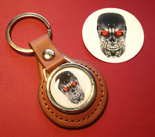 Terminator High Quality Tan Leather  Keyring - T1 & T2 Judgement Day,  & sticker