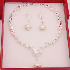 Fashion White Gold Plated Bridal Jewelry Sets Pearl Ball Beads Necklace Earrings