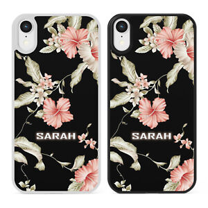 BLACK AND PINK FLOWERS FLORAL PERSONALISED NAME Phone Case Cover iPhone Samsung